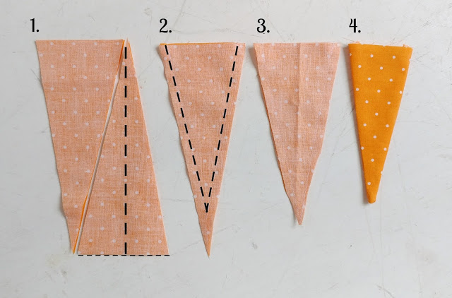 Sewing Tutorials: How to Make Fabric Carrots, a tutorial featured by top US sewing blog, Ameroonie Designs: cut and sew the body of the carrot before stuffing
