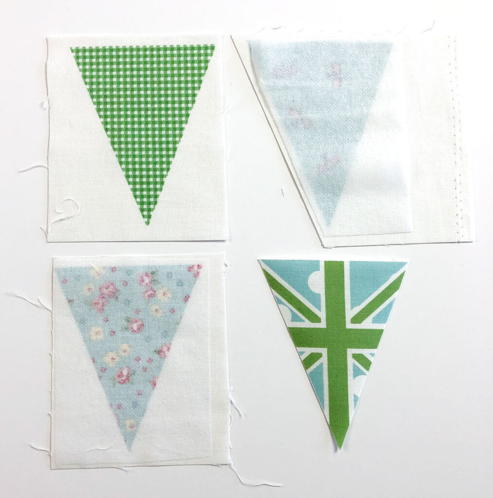 Two ways to sew a beautiful and simple fabric bunting with top US sewing blog Ameroonie Designs. Image of steps needed to fuse interfacing and cut out fabric flags for bunting.
