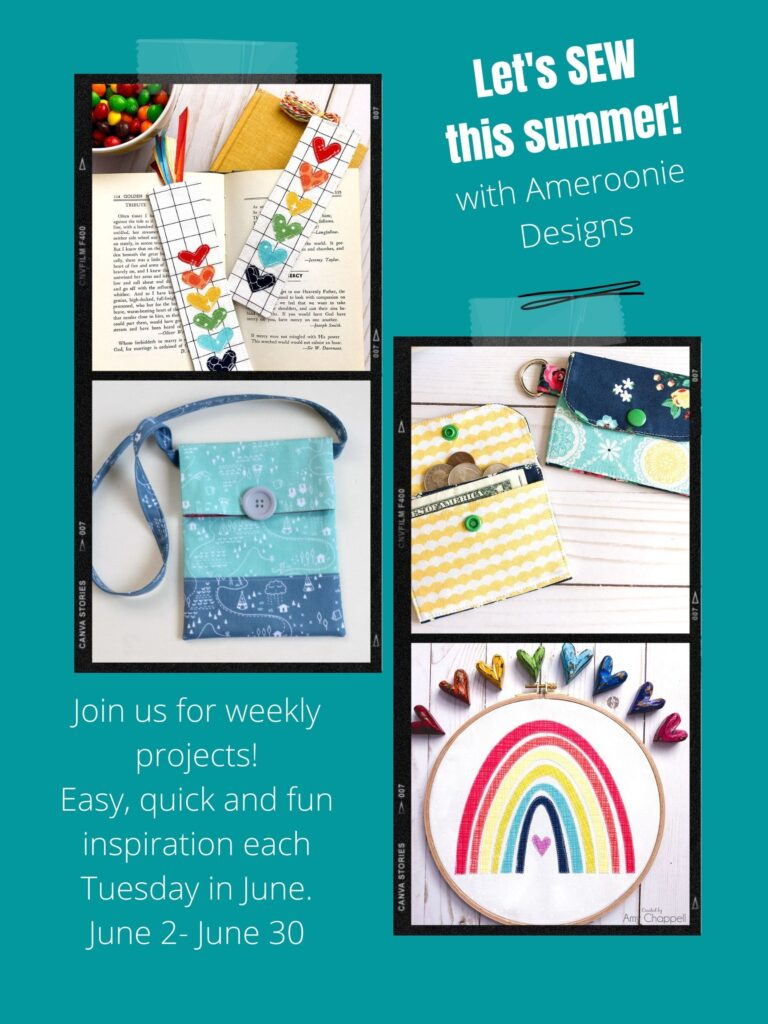 Summer Sewing Series with top US sewing blog Ameroonie Designs. Image of sewing project included in the series such as fabric bookmarks and mini wallets.