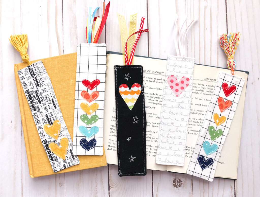 Summer Sewing Series with top US sewing blog Ameroonie Designs. Image of fabric scrap bookmarks.