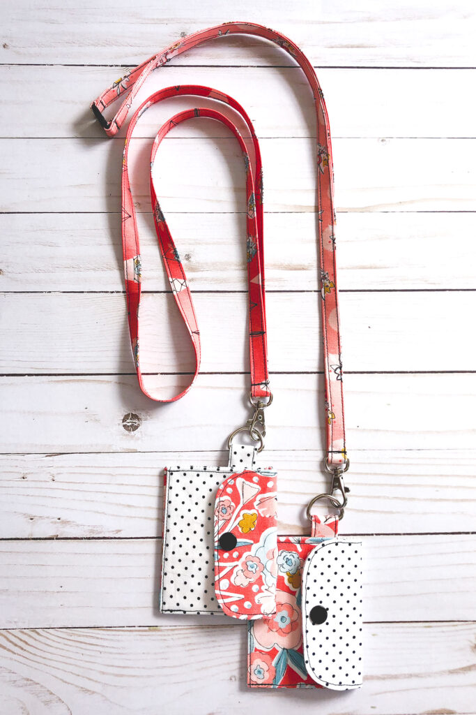 Summer Sewing Series with top US sewing blog Ameroonie Designs. Image of fabric lanyards with mini wallets attached.