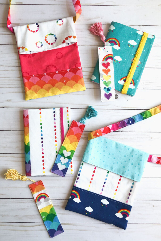 7 simple sewing projects to make this weekend from top US sewing blog Ameroonie Designs. Image of sling totes, fabric bookmarks and fabric covered notebooks in Dream fabric.