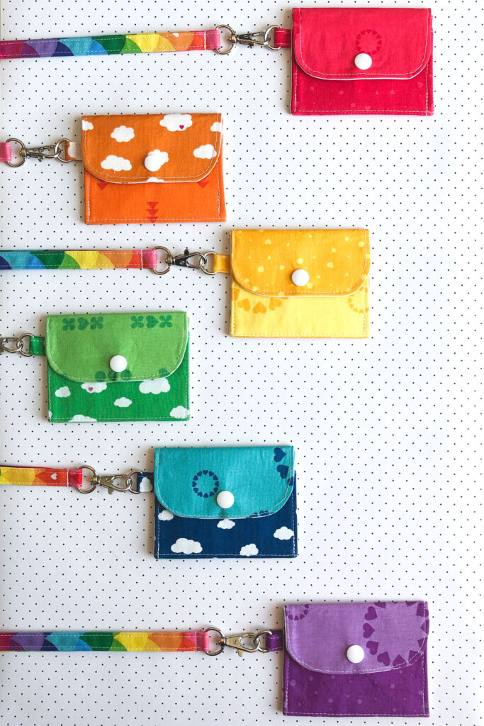 7 simple sewing projects to make this weekend from top US sewing blog Ameroonie Designs. Image of mini wallets on fabric lanyards.